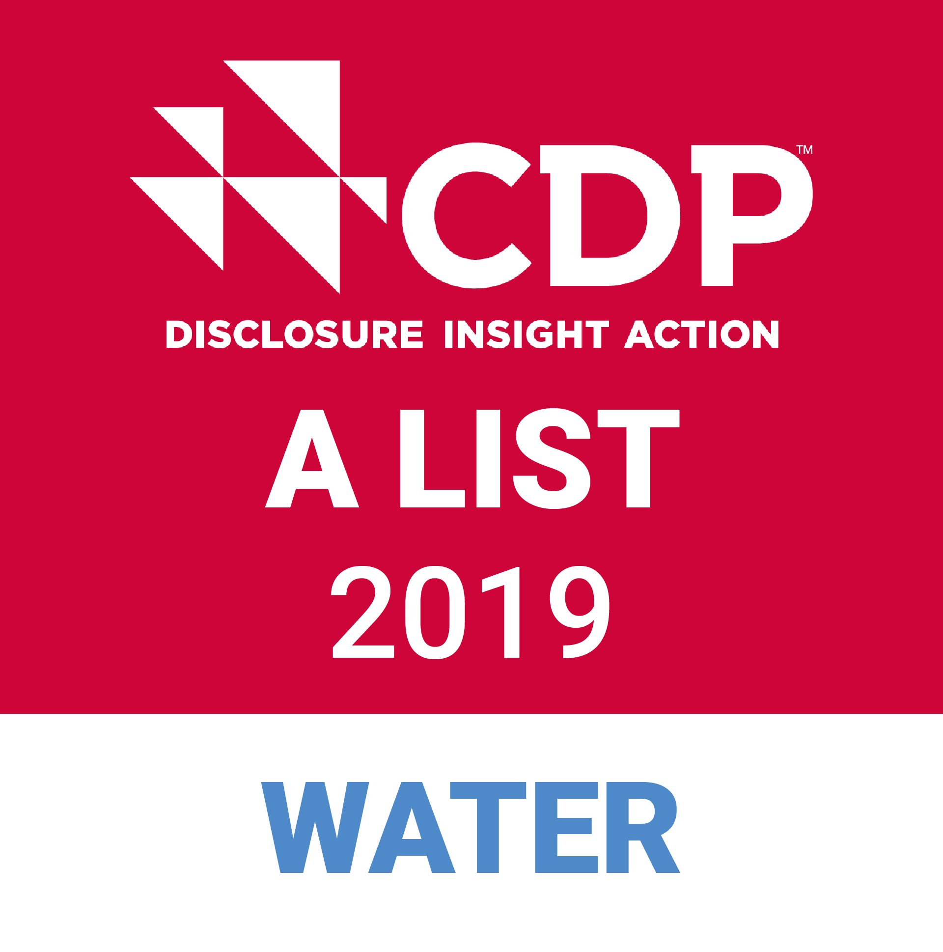 2019 CDP Water A List badge