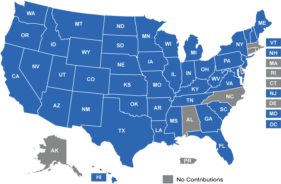 us map of state where we gave contributions