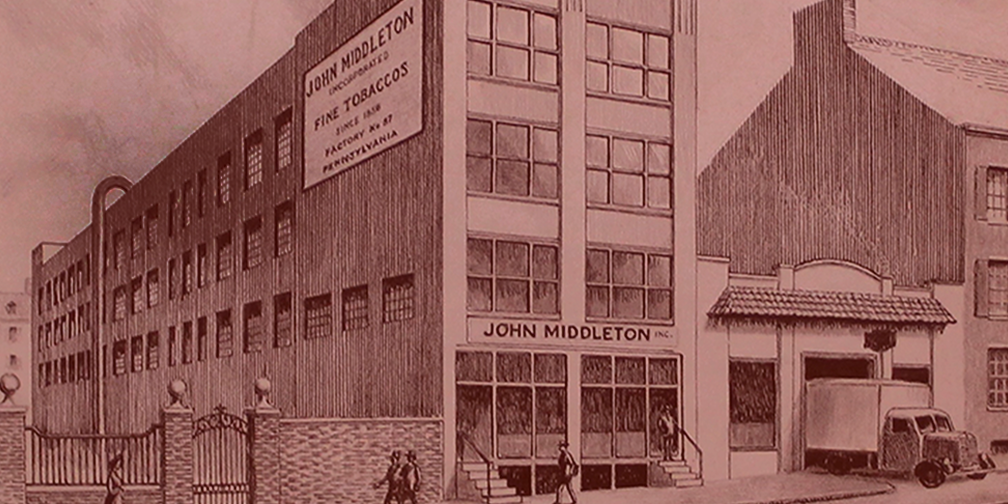 vintage red etching of john middleton's third store