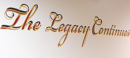 "history wall at middleton king of prussia facility, detail: ""the legacy continues"""