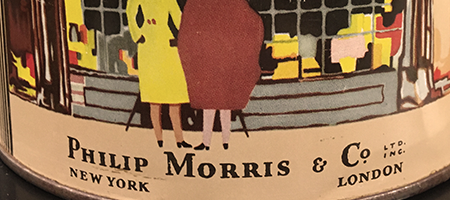 detail of vintage philip morris tobacco tin