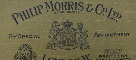 "detail of vintage philip morris & cos. ltd. ""brown box"" packaging"