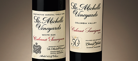beauty shot: original bottle of ste. michelle's 1967 cabernet sauvignon with 50th anniversary bottle