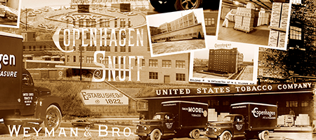 collage of vintage us smokeless tobacco imagery, including copenhagen snuff