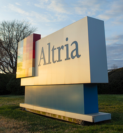 Exterior photo of the Altria sign at sunrise